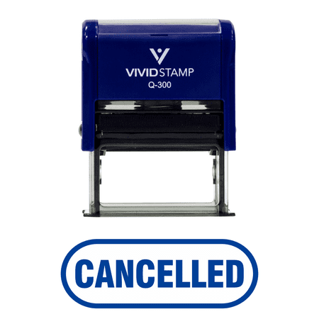 CANCELLED Button Border Office Self-Inking Office Rubber Stamp (Blue) -
