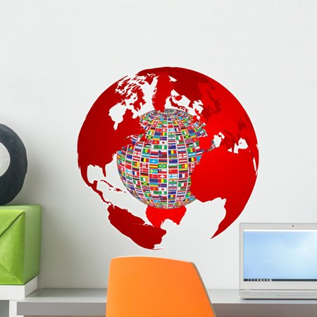 Transparency World Map with Wall Decal by Wallmonkeys Peel and Stick Graphic (18 in H x 18 in W) WM349006