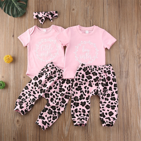Pink Little Sister design on white Onesie for newborn baby