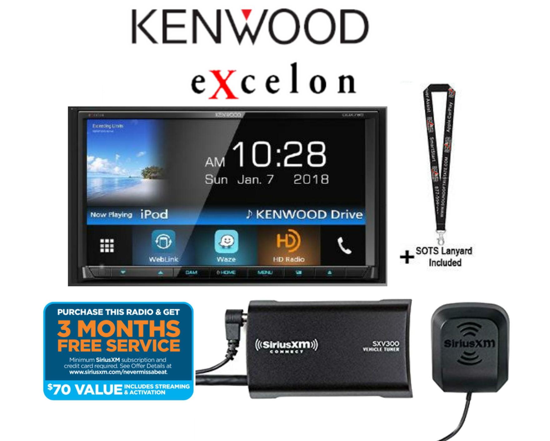 "Kenwood eXcelon DDX795 w  Sirius XM SXV300KV1 6.95"" WVGA DVD Receiver w  Bluetooth & HD Radio w  Satellite Radio... by Kenwood"