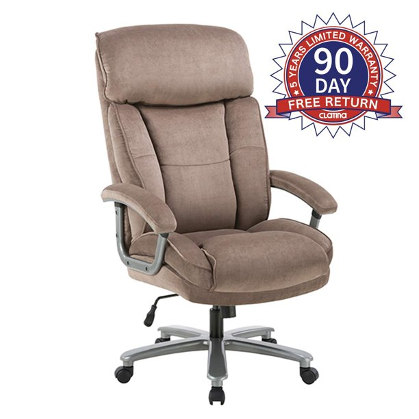 Ergonomic Big Tall Executive Office Chair With Upholstered Swivel 400lbs High Capacity Adjustable Height Thick Padding Headrest And Armrest For Home Office Beige Walmart Com Walmart Com