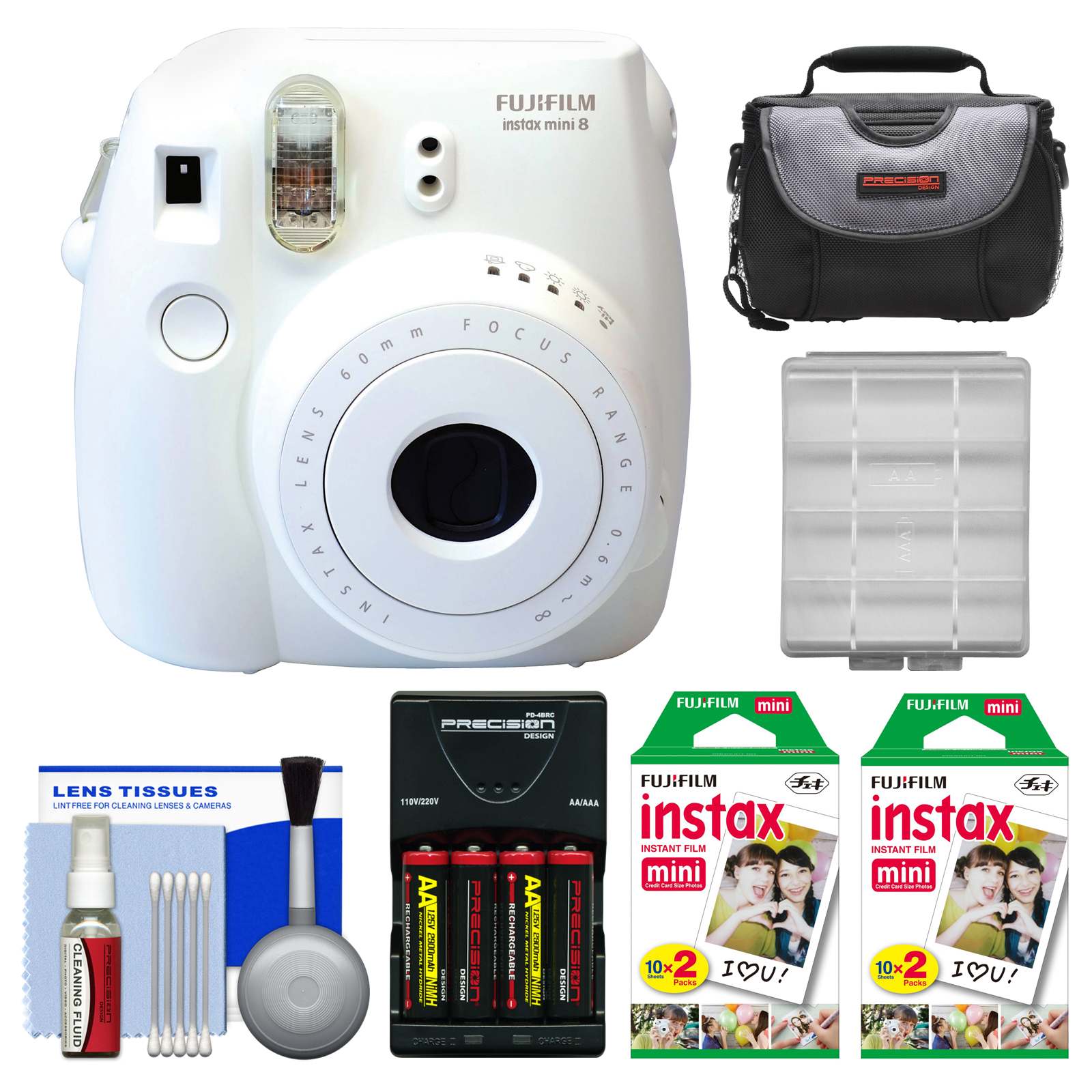 Fujifilm Instax Mini 8 Instant Film Camera (White) with 40 Instant Film + Case + Batteries & Charger + Kit