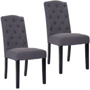 Goplus Set Of 2 Fabric Wood Accent Dining Chair Tufted Modern Living Room Furniture