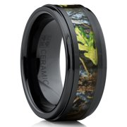 Men's Black Ceramic Ring Outdoor Hunting Camouflage Band, Real Fortest Trees, Leaves 9mm