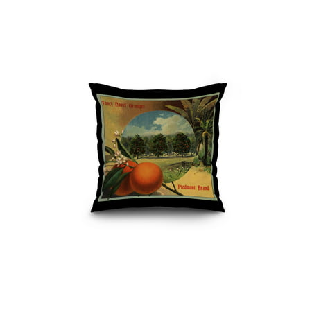 Piedmont Brand   California   Citrus Crate Label  16X16 Spun Polyester Pillow  Black Border