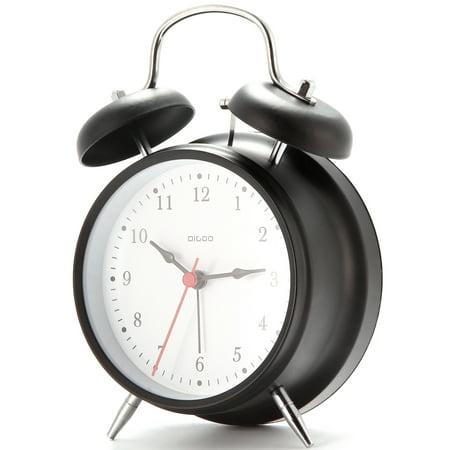 "4"" Retro Metal Twin Bell Alarm Clock Quartz Movement Night Light Battery - image 5 de 6"