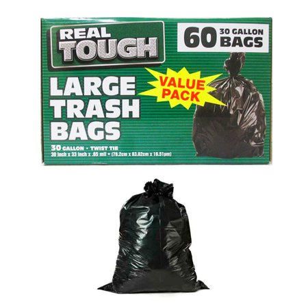 - 60 Large Trash Bags Commercial 30 Gallon Flap Tie Black Heavy Duty Outdoor Yard