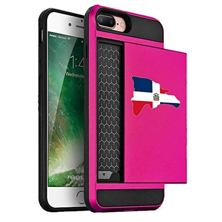 Wallet Credit Card ID Holder Shockproof Hard Case Cover for Apple iPhone Dominican Republic Dominican Flag (Hot-Pink, for Apple iPhone 7 Plus/iPhone 8 (Banana Republic Credit Card Customer Service Phone)