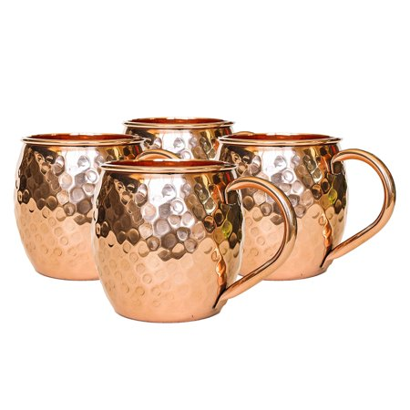 Set of 4 Modern Home Authentic 100% Solid Copper Hammered Moscow Mule Mug - Handmade in
