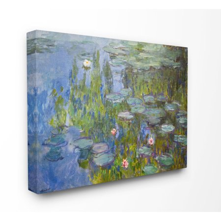 The Stupell Home Decor Collection Monet Impressionist Lilly Pad Pond Painting Canvas Wall Art ()