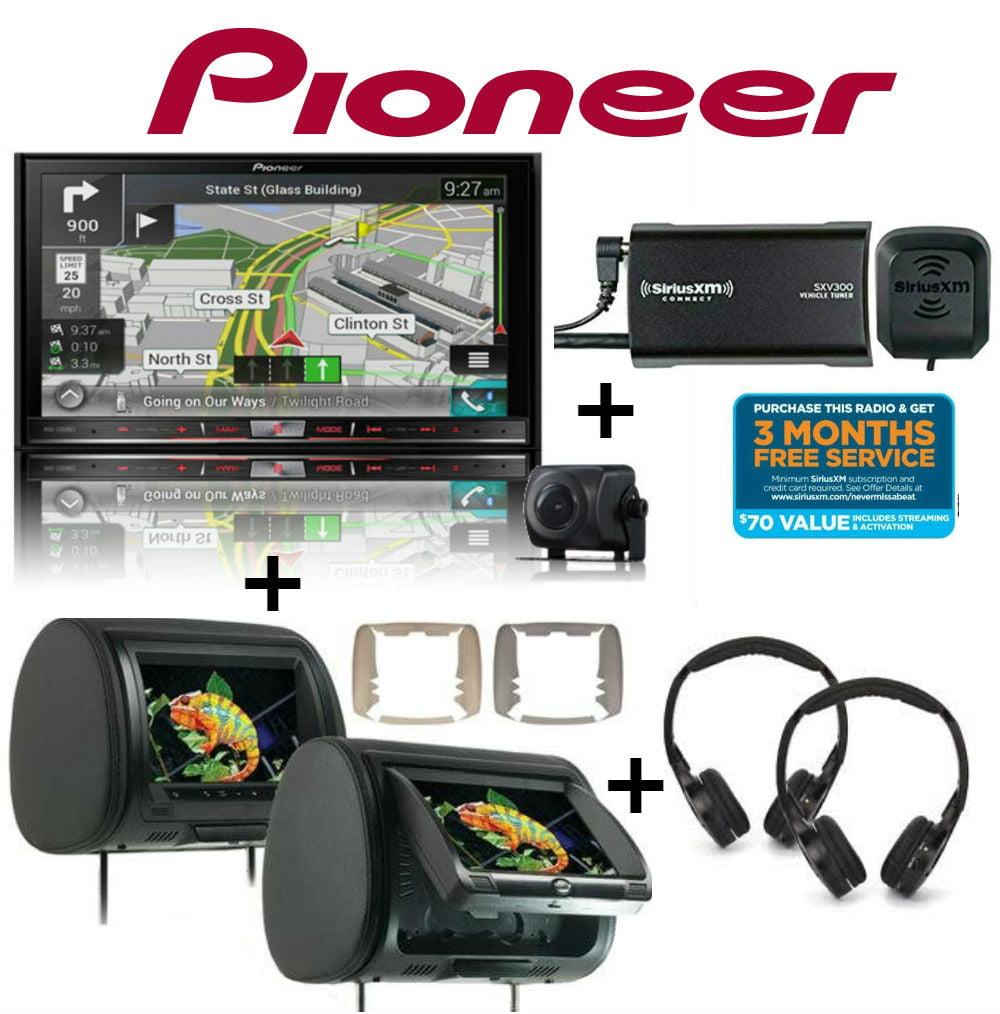 "Pioneer AVIC-7201NEX 7"" Navigation, SiriusXM Tuner, 2 CLS-903 9"" Headrest Monitors + Headphones"