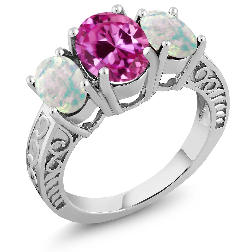 3.66 Ct Oval Pink Created Sapphire White Simulated Opal 925 Sterling Silver Ring by