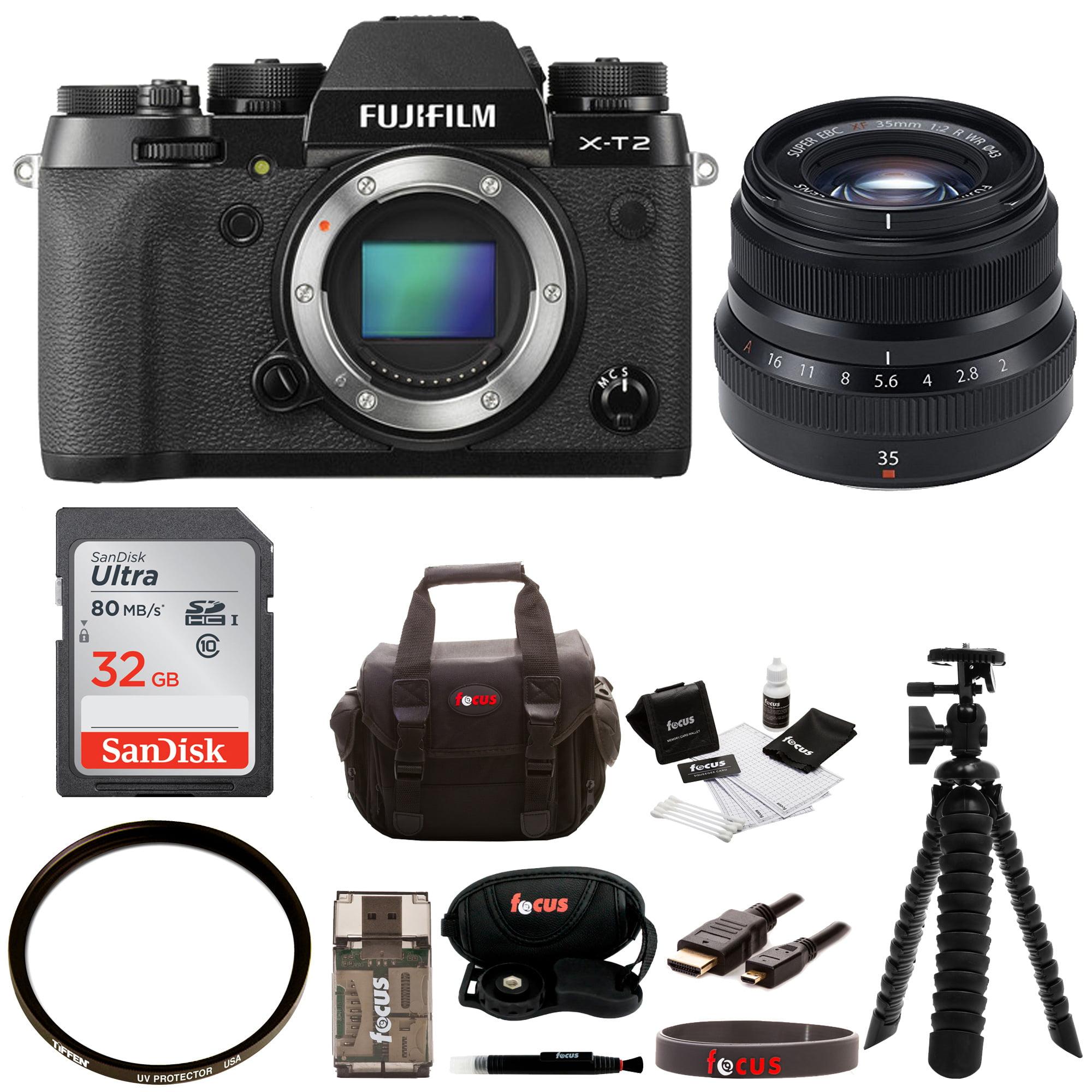 FujiFilm X-T2 Mirrorless Digital Camera (Body Only) w 35mmF2 R WR Lens + 32gb Ki by Fujifilm