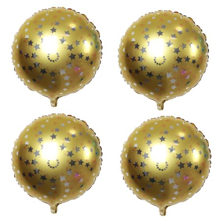 Unique Bargains Home Wedding Foil Star Pattern Round Inflation Balloon Gold Tone 18 Inches 4pcs - Gold Star Balloons