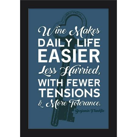 Benjamin Franklin Quote - More Tolerance - Blue - Lantern Press Artwork (12x18 Giclee Art Print, Gallery Framed, Black Wood) (Franklin Frames)