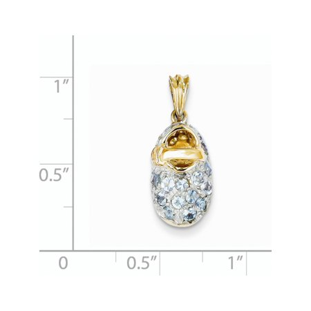 14k Yellow Gold w/Rhodium  Prong-Set March/Aquamarine Baby Shoe (9x23mm) Pendant / Charm - image 1 of 3