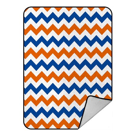 Navy Country Lambswool - GCKG Navy Deep Blue Orange Chevron Fleece Blanket Crystal Velvet Front and Lambswool Sherpa Fleece Back Throw Blanket 58x80inches