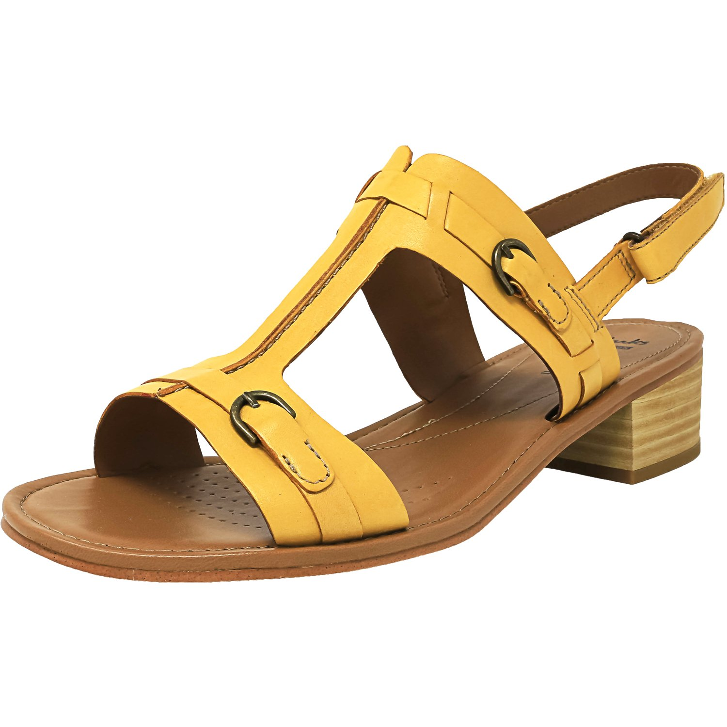 Clarks Women's Reida Madelyn Yellow Ankle-High Leather Sandal - 12W