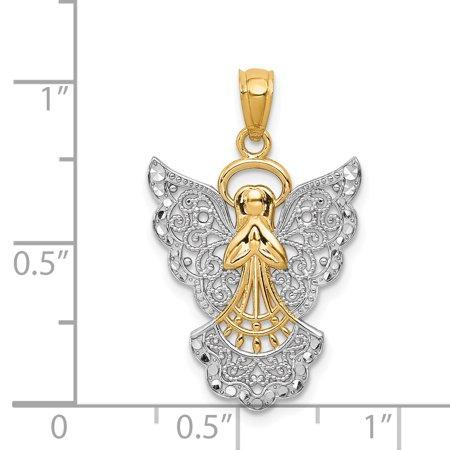 14K Rhodium Plated Yellow Gold w/Rhodium Filigree Angel Pendant - image 1 of 2