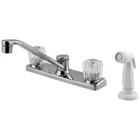 Price Pfister Kitchen Faucet 2-Handle Chrome, Acrylic Handles With Spray  Lead Free