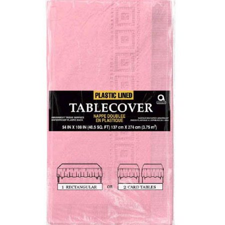 Light Pink Plastic-Lined Paper Table Cover (1ct) (Lined Paper Tablecloths)