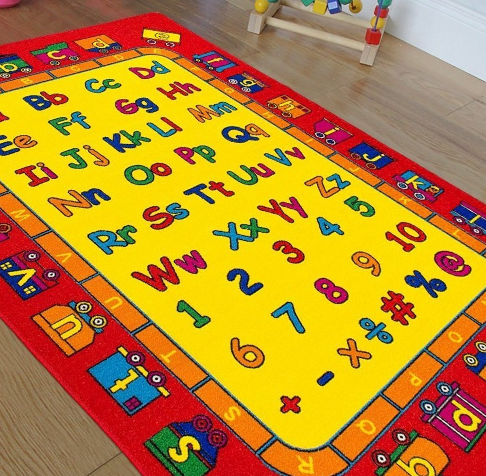 HR Kids Rugs.Educational/Play Time. Red And Yellow.Learning Numbers And Letters.