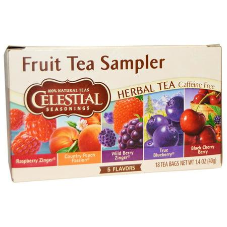 Celestial Seasonings, Fruit Tea Sampler, Herbal Tea, Caffeine Free, 5 Flavors, 18 Tea Bags, 1.4 oz (pack of 4)
