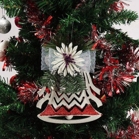 Christmas Xmas Tree Ornaments Decor Plastic White Hollow Flat Bell Pendant New - image 2 of 5