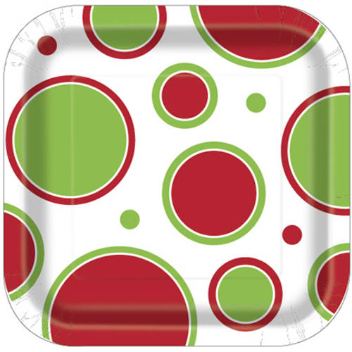 "7"" Square Polka Dot Christmas Party Plates, 10-Count"