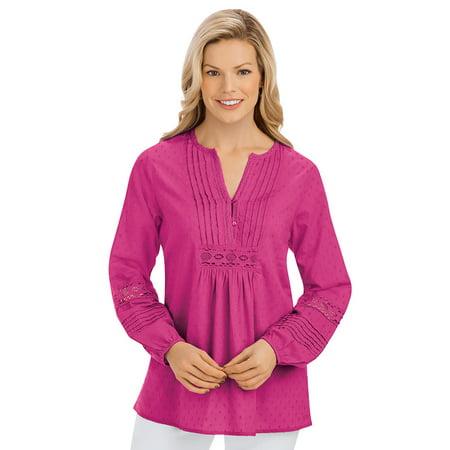 Women's Crochet Trim Woven Pintuck Long Sleeve Tunic with Crochet Accents - Stylish Seasonal Top, Xx-Large, Raspberry