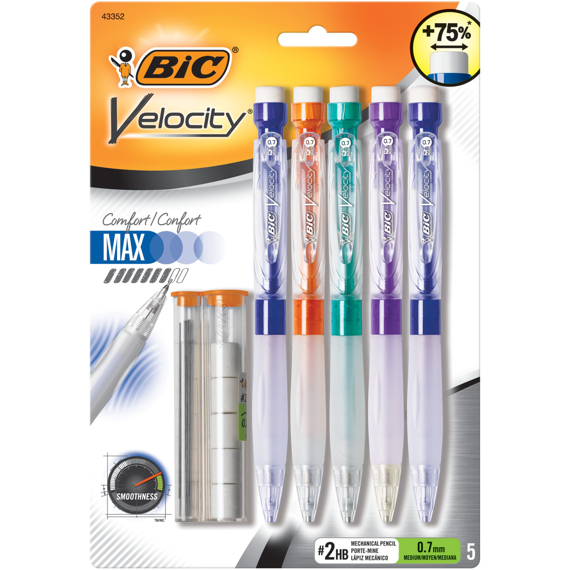 BIC Velocity Max Mechanical Pencil, Medium Point (0.7mm), 5 Count