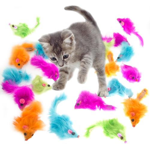 18pk Bright Furry Mouse Cat Toys Realistic Mice Tail Pets Grreat Choice Lot Bulk by