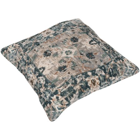 """27"""" Pine Green and Beige Distressed Finished Square Throw Pillow - Down Filler"""