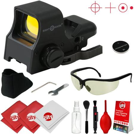 sightmark ultra shot pro spec sight nv qd red dot sight w/ tinted ballistic glasses + optical cleaning kit (sm14002)