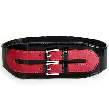 BMC Womens Wide Elastic Faux Leather Double Strap Fashion Accessory Belt (Womens Double Strap)