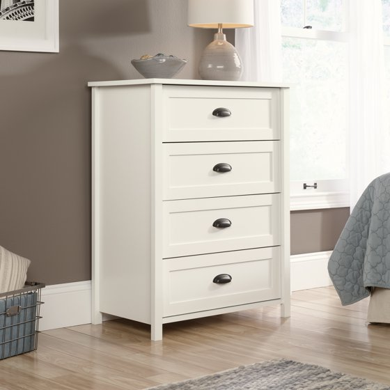 sauder furniture 416976 county line soft white 4 drawer dresser storage chest. Black Bedroom Furniture Sets. Home Design Ideas