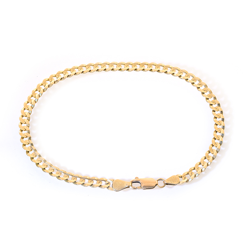 4.6 mm 14k Yellow Gold Cuban Link Curb Chain Bracelet Italy by