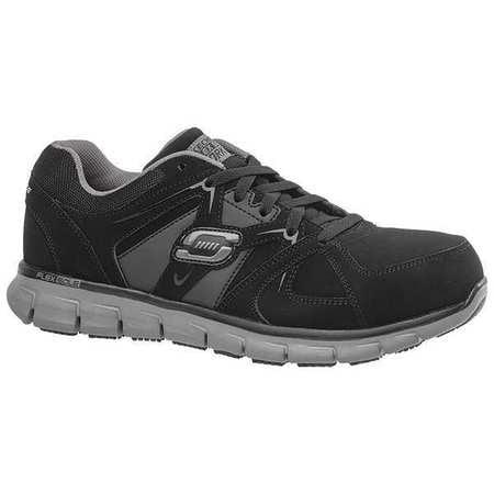 Skechers Size 10 Alloy Toe Athletic Style Work Shoes, Men's, Black/Charcoal, D, 77068 -BKCC SZ 10