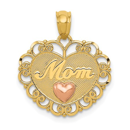 14kt Two Tone Yellow Gold Mom Heart Pendant Charm Necklace Love Fine Jewelry Ideal Gifts For Women Gift Set From Heart