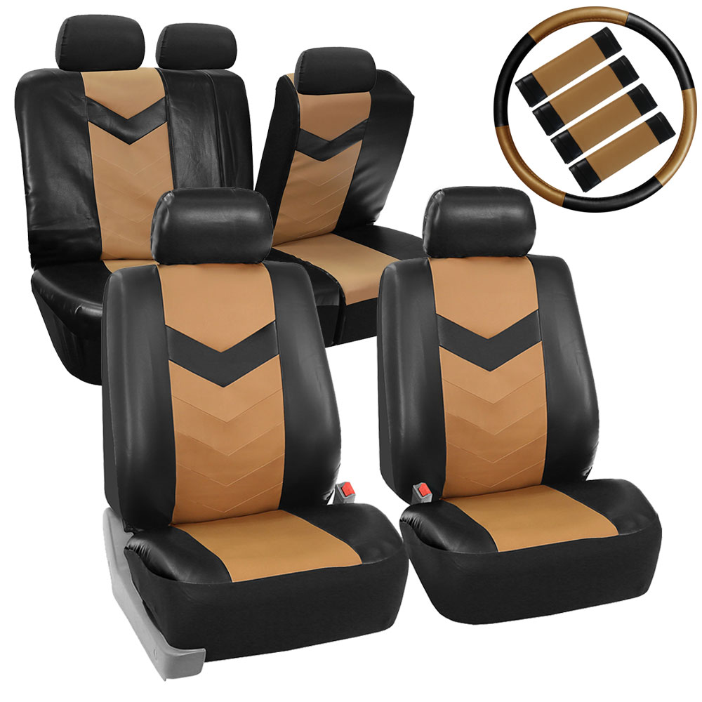 FH Group Synthetic Leather Auto Accessory Full Set with Steering Wheel Cover and Seatbelt Pads, Side Airbag Compatible with Split Bench Function, Tan and Black