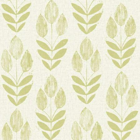 Brewster Skye Light Green Block Print Tulip (Best Green Nature Wallpapers)