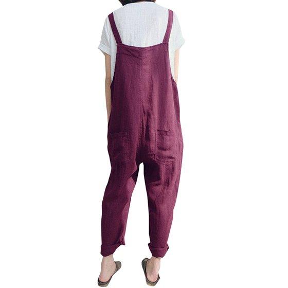 42b31636d6e ZANZEA - Womens Linen Jumpsuits Overalls With Pockets Vintage Harem ...