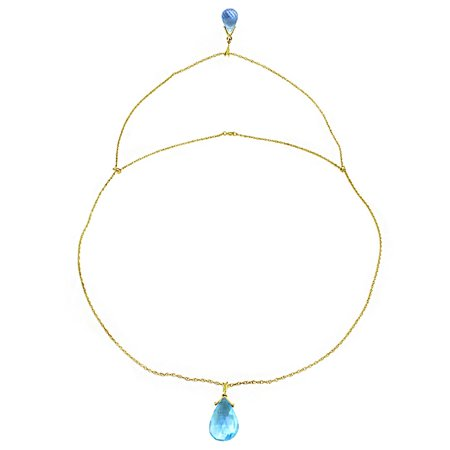 Briolette Drop Necklace (ALARRI 14K Solid Gold Front And Back Drop Necklace w/ Briolette Blue Topaz with 22 Inch Chain)