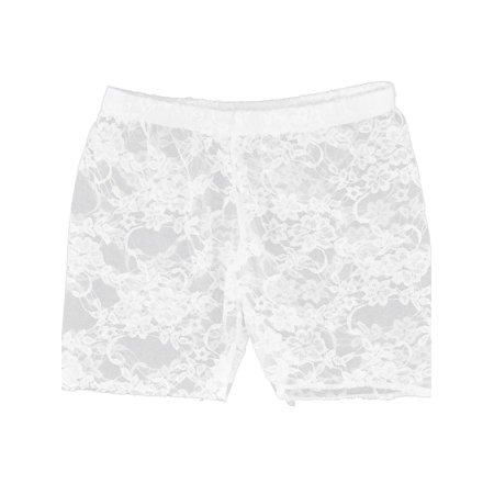Unique Bargains Semi Sheer Laced Short Pants  Leggings White XS for Women