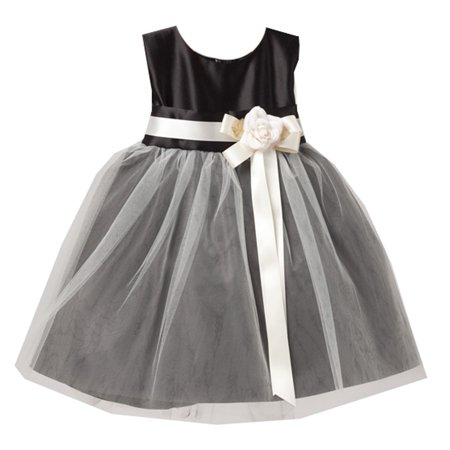 - Sweet Kids Baby Girls Black White Floral Accent Flower Girl Dress 6-24M