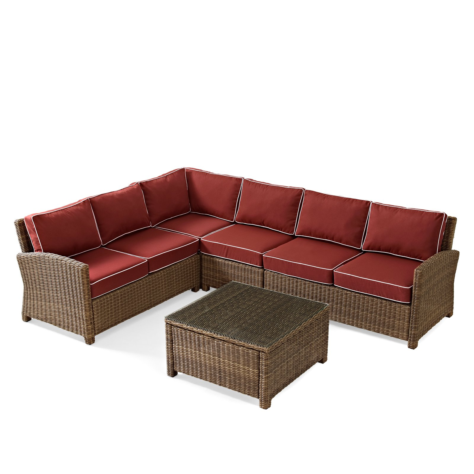 Crosley Furniture Bradenton 5-Piece Outdoor Wicker Seating Set with Sangria Cushions - Right Corner Loveseat, Left Corner Loveseat, Corner Chair, Center Chair, Sectional Glass Top Coffee Table