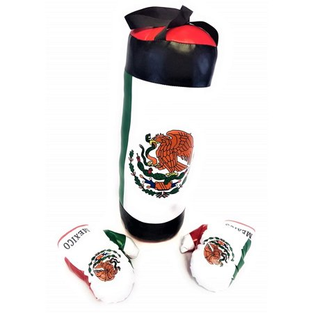 Kids Mexico Flag Boxing Set Toy w/ Punching Bag + Boxing Glove , Children's Pretend Champion Boxing Playset Sports Physical Training Game