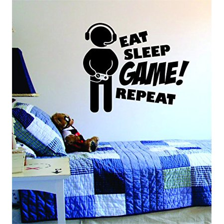 Eat Sleep GAME Repeat Version 2 Quote Decal Sticker Wall Vinyl Art Design Gamer Cool Funny Game - Halloween Funny Quote