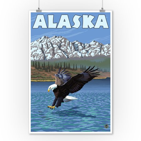 Alaska - Bald Eagle - Lantern Press Artwork (9x12 Art Print, Wall Decor Travel Poster)