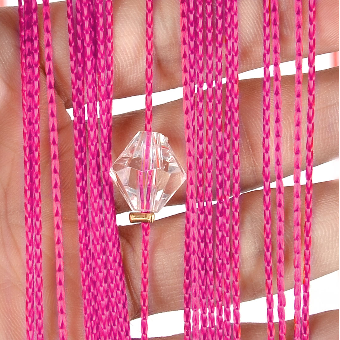 Home Decor Polyester Door Window String Bead Curtain Tassel Fuchsia 100 x 200cm - image 2 de 3